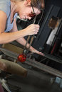 Worker Finishing Glass Object