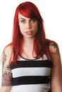 Serious Lady with Tattoo Staring Royalty Free Stock Photos