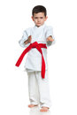 Serious little boy in kimono Royalty Free Stock Photography