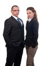 Serious looking businessman and business woman Royalty Free Stock Image