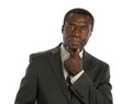 Serious looking mid age african american male model isolated on background Stock Images