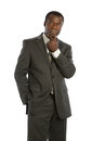 Serious looking mid age african american male model isolated on background Royalty Free Stock Images