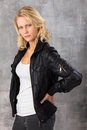Serious looking young blonde woman Royalty Free Stock Images