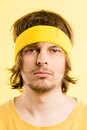 Funny man portrait real people high definition yellow background Royalty Free Stock Photo