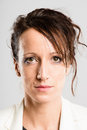Serious woman portrait real people high definition grey backgrou Royalty Free Stock Photo