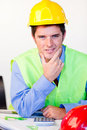 Serious male with hard hat Royalty Free Stock Photo