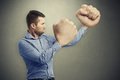 Serious man with big fists Royalty Free Stock Photo