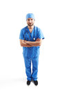 Serious man in blue scrubs view from above of over white background Stock Photo