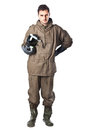 Serious man in hazard suit a wearing an nbc suite nuclear biological chemical Stock Photos