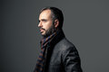 Serious man and stylish in a grey background Stock Photo