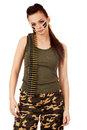 Serious military woman with bullet belt Royalty Free Stock Photo
