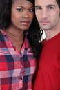 Serious mixed race couple Royalty Free Stock Photo