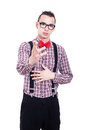Serious nerd pointing man at you isolated on white background Stock Photography