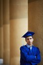 Serious student portrait of confident graduation looking at camera Royalty Free Stock Photography