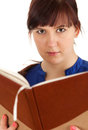 Serious student woman with book Royalty Free Stock Image