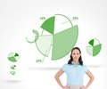 Serious stylish businesswoman posing composite image of in front of green diagrams Royalty Free Stock Photos