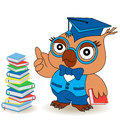 Serious Teacher Owl in glasses Royalty Free Stock Photo