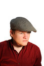 Serious Teen Boy Wearing A Flat Cap Royalty Free Stock Photo