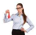 Serious woman glasses looks deflated balloon Royalty Free Stock Photos