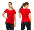 Serious woman wearing blank red shirt young beautiful brunette female with front and back ready for your design or artwork Royalty Free Stock Image