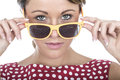 Serious Young Woman Looking Over Sun Glasses Royalty Free Stock Photo
