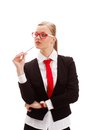 Seriously businesswoman holding pen Royalty Free Stock Image
