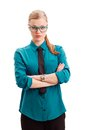 Seriously businesswoman over white Royalty Free Stock Image