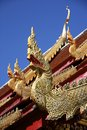Serpent gable at buddhism temple roof chiangmai thailand Royalty Free Stock Photos