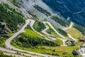 Serpentine mountain road in Italian Alps, Stelvio pass, Passo de Royalty Free Stock Photo