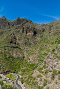 Serpentine road to town of masca tenerife in the teno mountain range north west canary islands spain atlantic ocean Stock Image