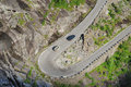 Serpentine road of trollstigen in the norwegian mountains is meandering along flank famous is photographed summer Royalty Free Stock Images