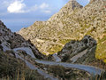 Serpentines in the mountains very narrow of majorca rocky terrain background mediterranean Stock Photo