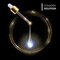 Serum premium golden drop. Collagen with dropper Royalty Free Stock Photo