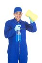 Servant holding cleaning spray and sponge portrait of confident young over white background Stock Photography