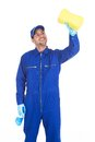 Servant with spray bottle and sponge cleaning young over white background Stock Photos