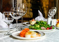Served banquet restaurant table Royalty Free Stock Photo