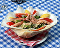 Served food at Greek restaurant Stock Image