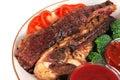 Served roast steak Royalty Free Stock Photo