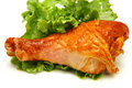 Served roasted chicken drumstick and lettuce Royalty Free Stock Image