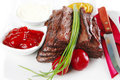 Served sectioned beef meat Royalty Free Stock Images