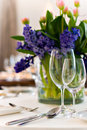 Served table with bouquet Royalty Free Stock Photography