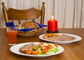 Served table with candle Royalty Free Stock Image