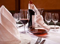 The served table with red wine at restaurant Royalty Free Stock Photo