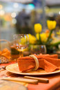 Served table in a restaurant Royalty Free Stock Photo