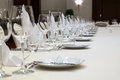 Served table in a restaurant fine setting gourmet close up focus the center Stock Photo