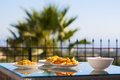 Served table set at summer terrace balcony Royalty Free Stock Photo