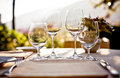 Served table at summer cafe Royalty Free Stock Photo