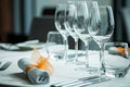 Served table with wine glasses in a restaurant Royalty Free Stock Images