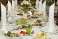 Served wedding table with snacks Royalty Free Stock Photography