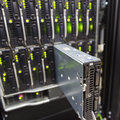 Server chassis the platform virtualization in the data center rack and failed blade Royalty Free Stock Photos